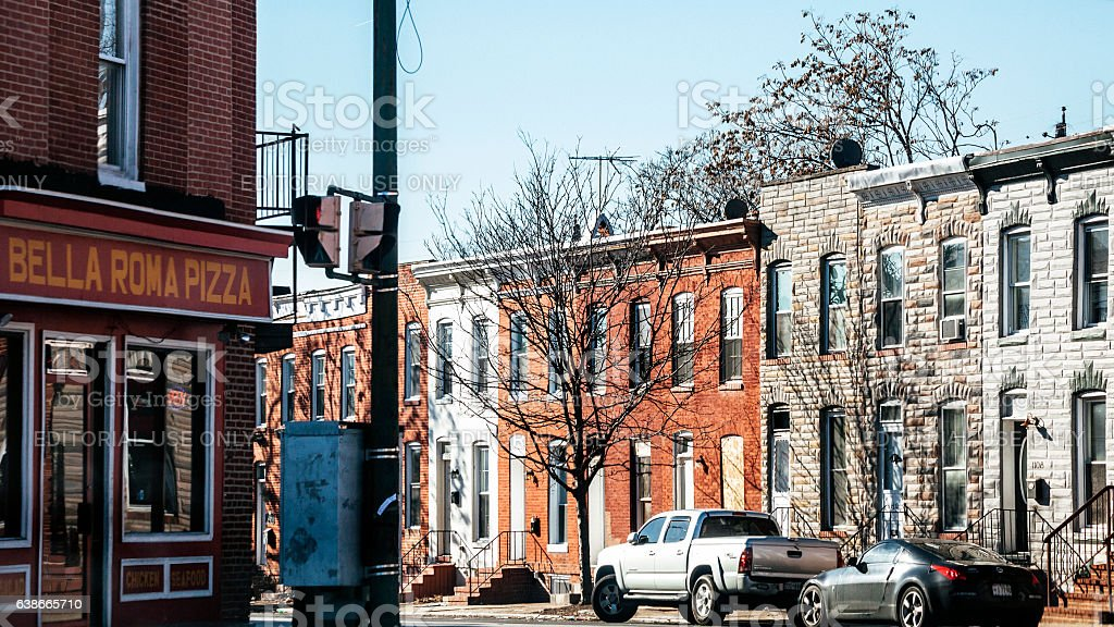 Streets of West Baltimore. stock photo