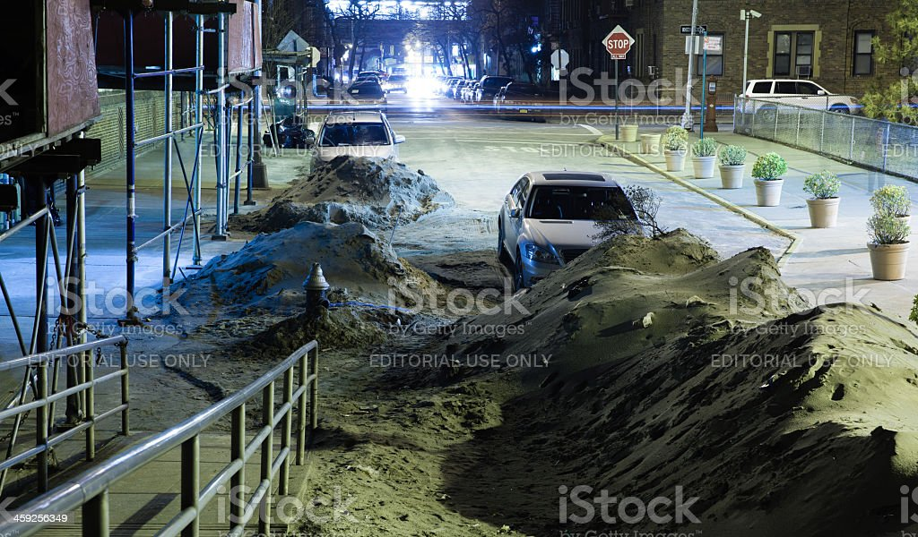 Streets still not cleaned from sand after Sandy hurricane royalty-free stock photo