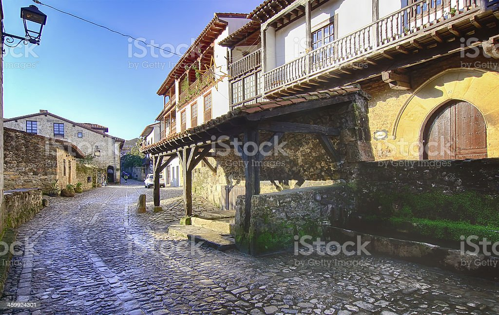 Streets typical of old world heritage village stock photo
