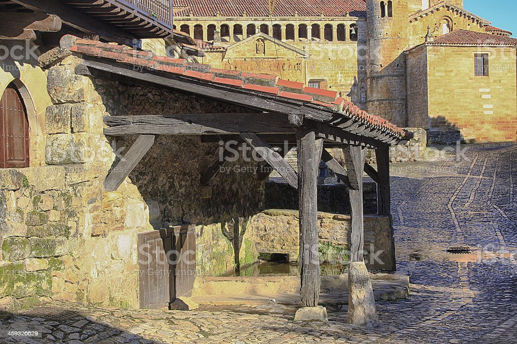 Streets typical old world heritage village of Santillana del stock photo