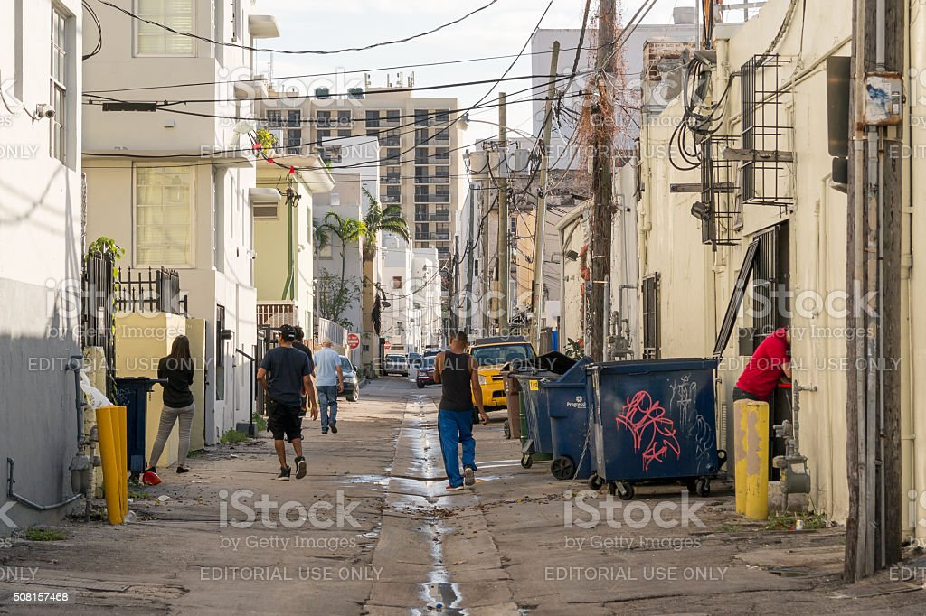 Streetscene Collins Court in Miami Beach, Florida stock photo