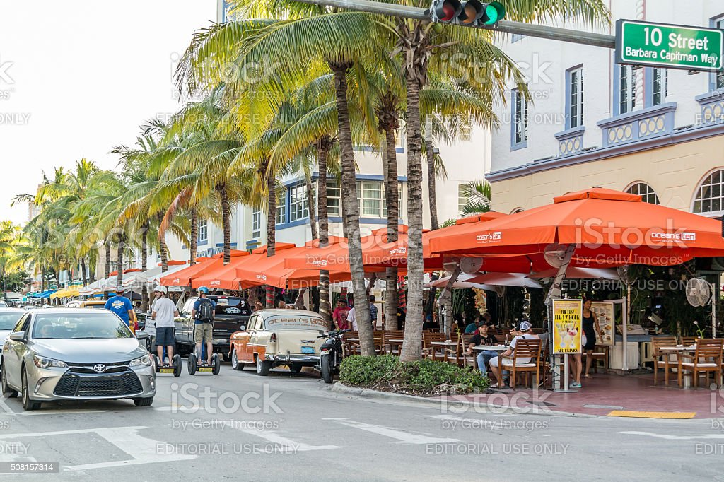 Streetscene of Ocean Drive in Miami Beach, Florida stock photo