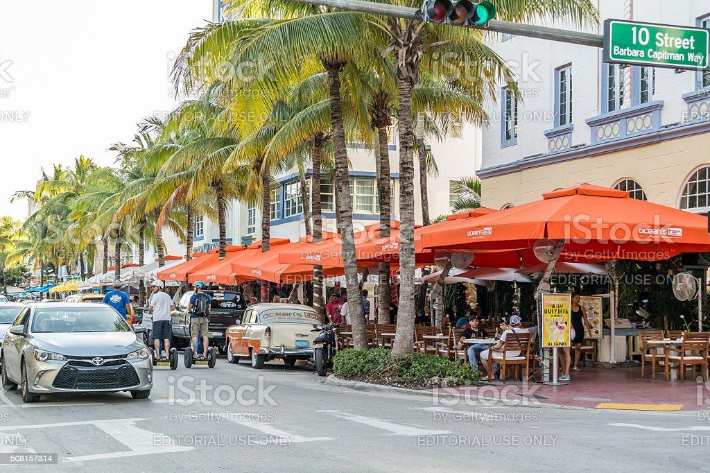Streetscene of Ocean Drive in Miami Beach, Florida stock photo