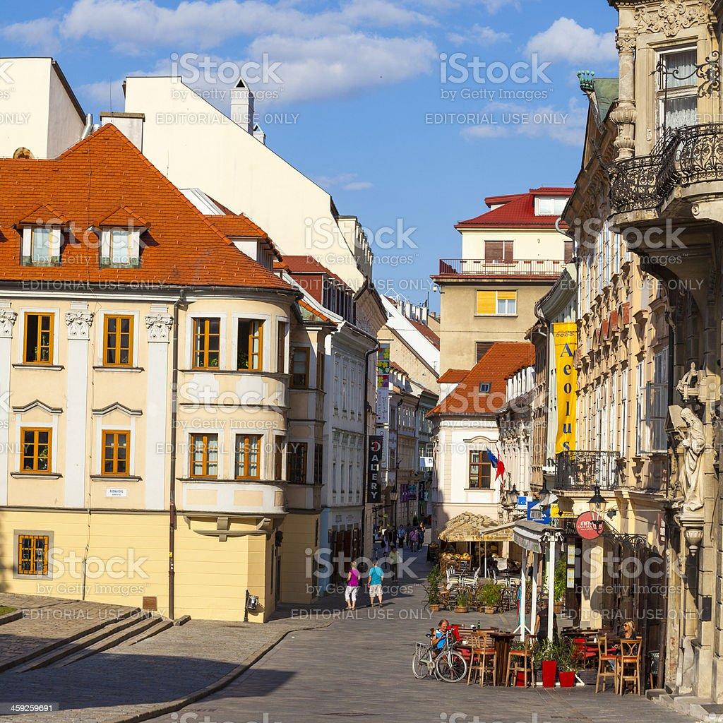 Streetside cafes and bars in Bratislava, Slovakia royalty-free stock photo