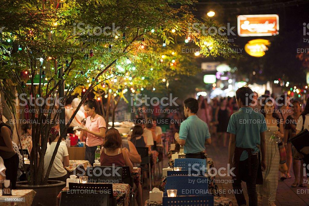 Streetside dining, Khaosan Road, Bangkok stock photo