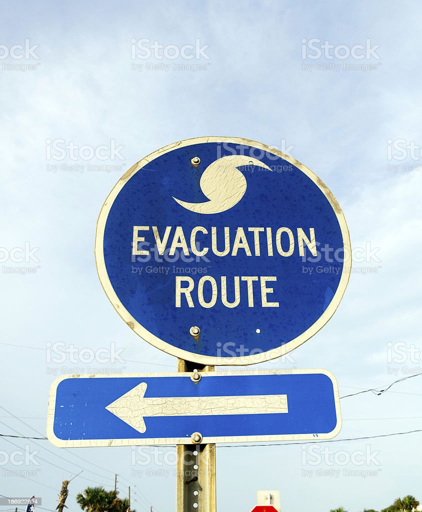 streetsign emergency route in eastpoint stock photo