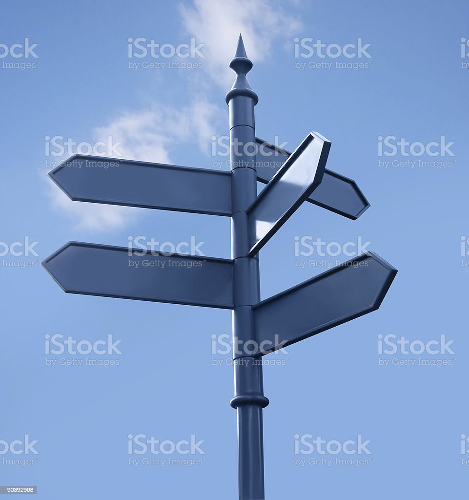 Streetsign in the city, 5 directions, sky royalty-free stock photo