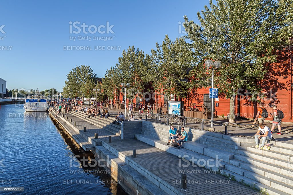 Streetview Center of Oulu in FInland stock photo