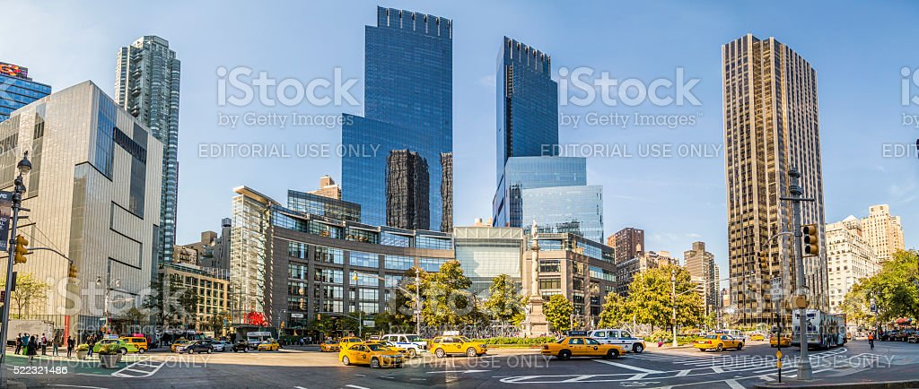 streetview in New York at columbus square stock photo