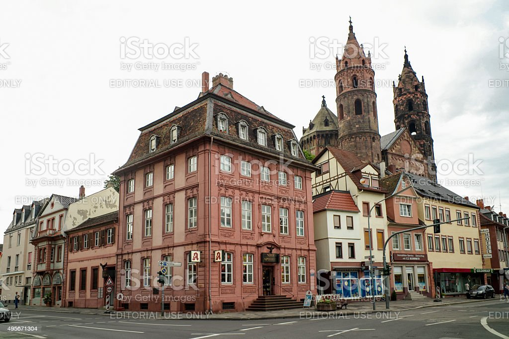 streetview of historical town worms in germany stock photo