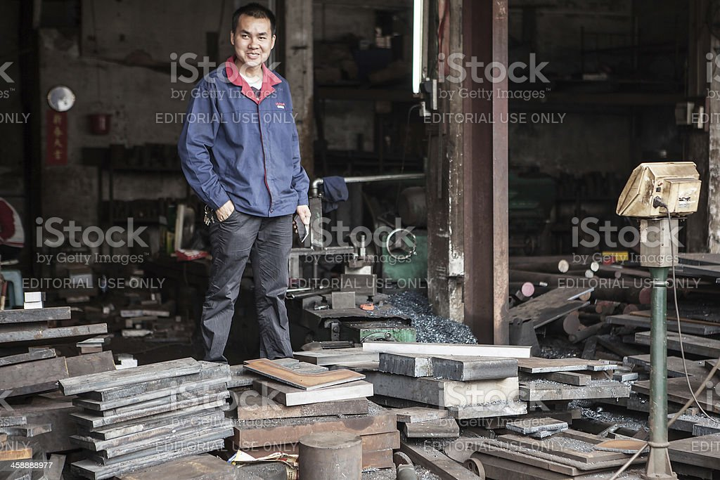 Streetview of machine-shop worker in China royalty-free stock photo