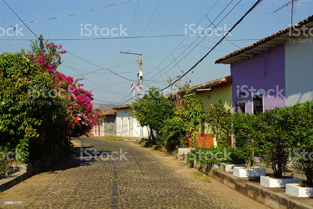 Streetview of Suchitoto - El Salvador stock photo