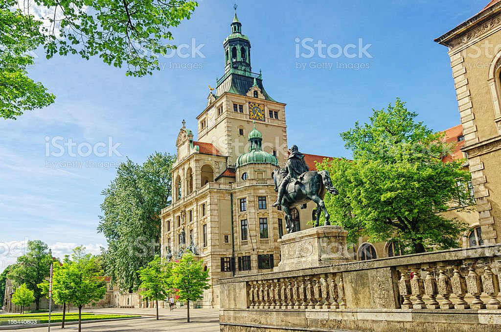 Streetview on Luitpold Prinzregent Statue and Bavarian National Museum Munich stock photo