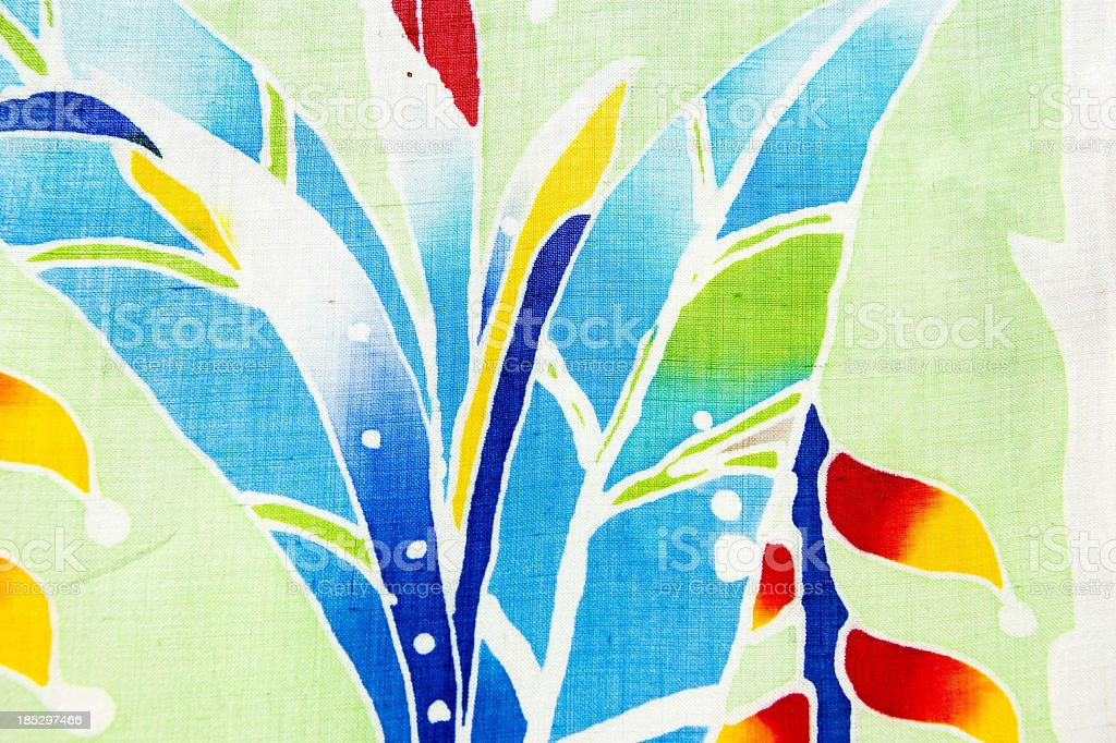 Strelitzia, Papageiblume batik handpainted royalty-free stock photo