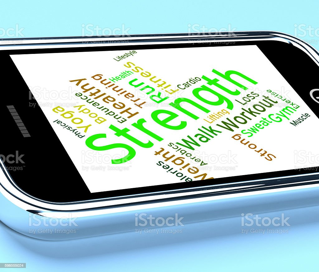 Strength Words Represents Text Strengthen And Muscle stock photo