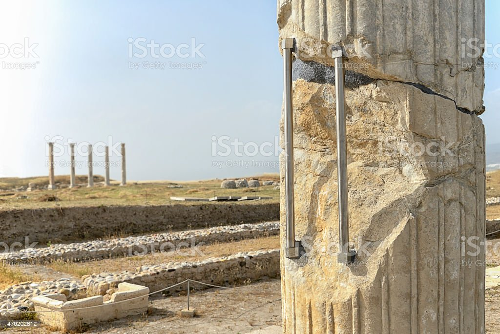 Strengthened ancient column stock photo