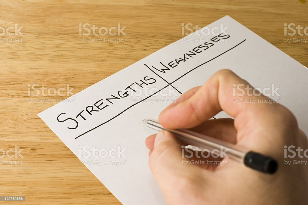 Strengths and Weaknesses stock photo