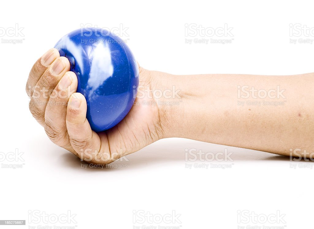 Stress ball in a hand. stock photo