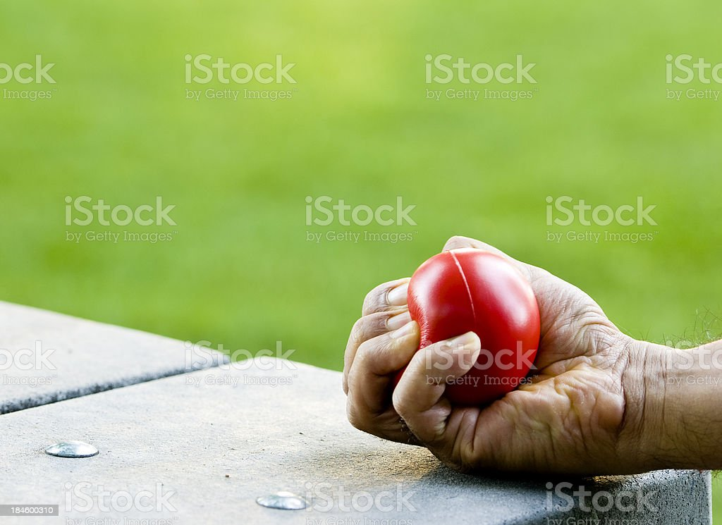 Stress ball squeezing stock photo