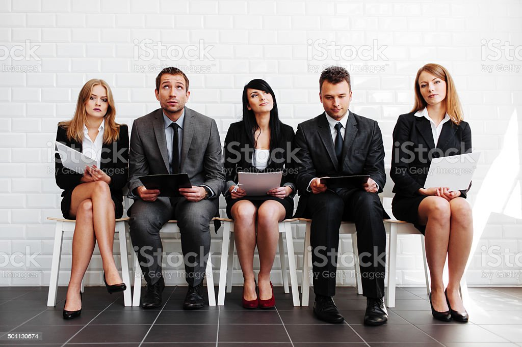 Stress before interview stock photo