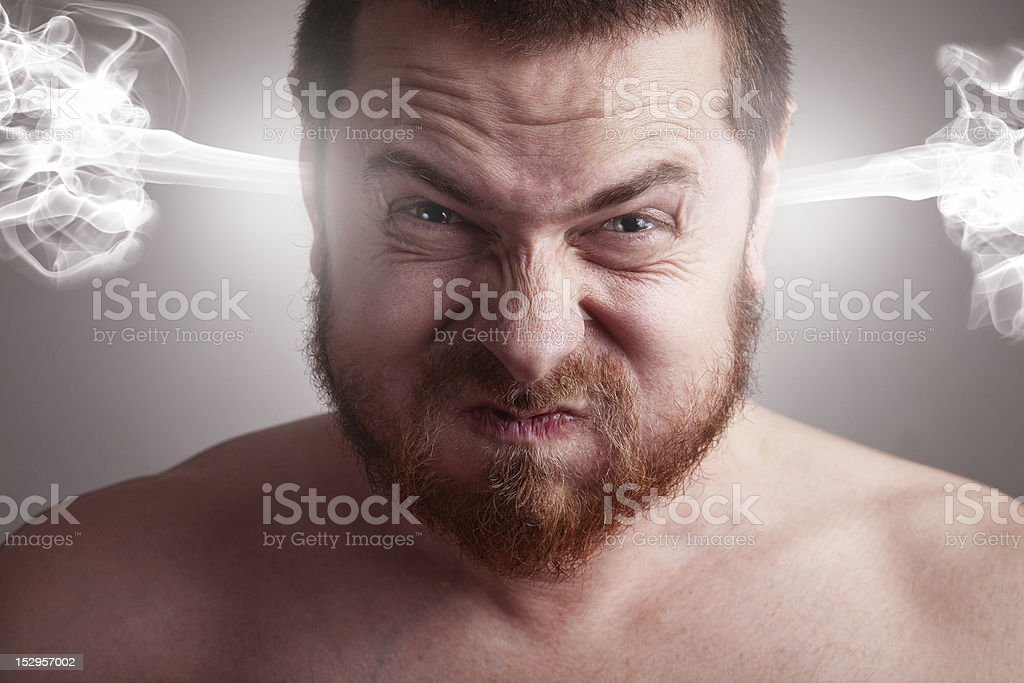 Stress concept - angry man with exploding head royalty-free stock photo