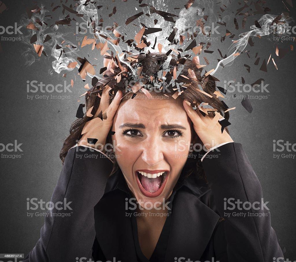 Stress head in smoke stock photo