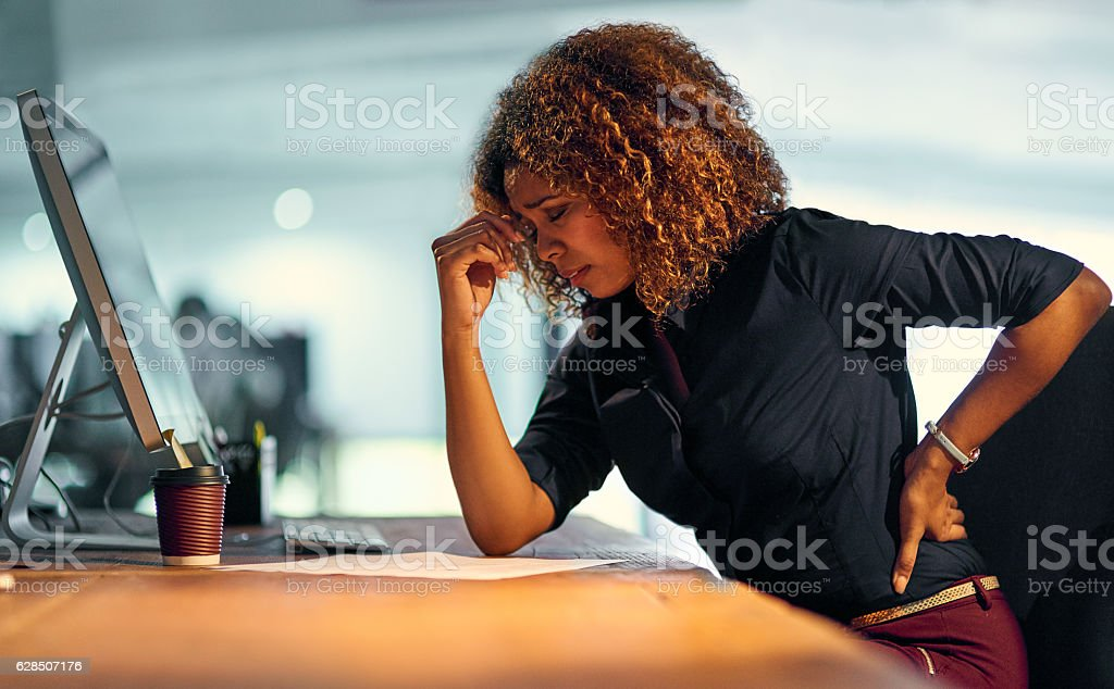 Stress is creeping up on her stock photo