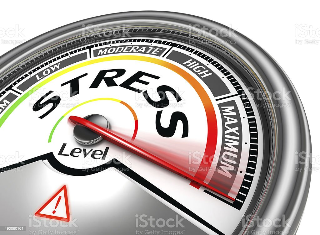 stress level conceptual meter indicating maximum stock photo