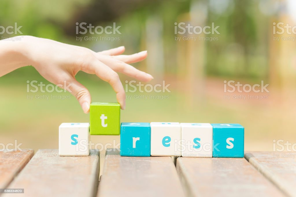 Stress, word and hand stock photo