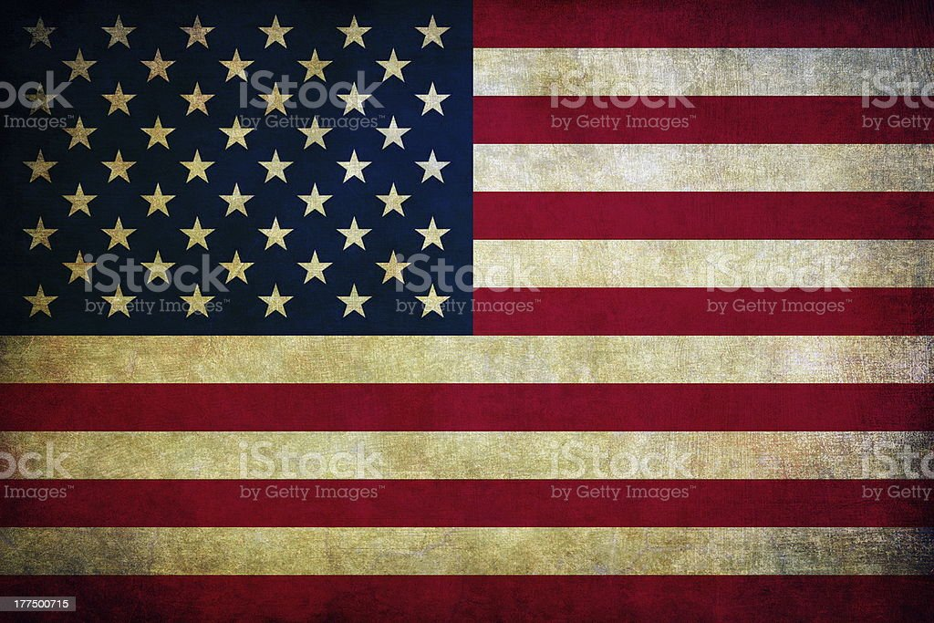 A stressed American flag of the united states stock photo