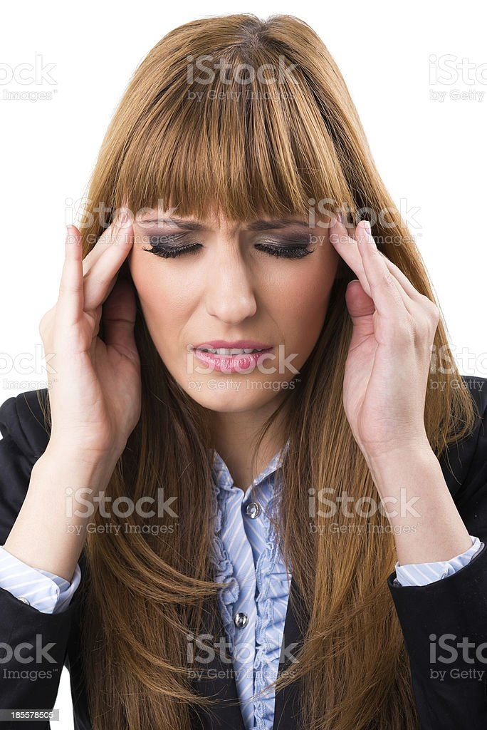 Stressed and depressed young atractive businesswoman royalty-free stock photo