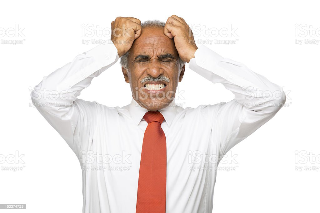 Stressed and worried latin business man royalty-free stock photo