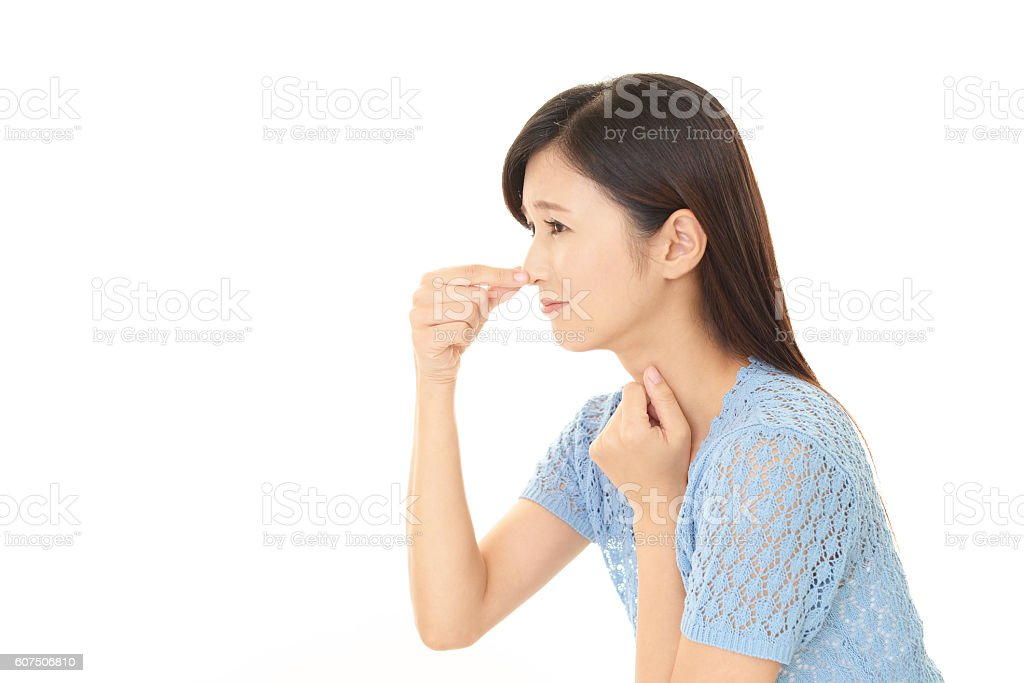 Stressed Asian woman stock photo