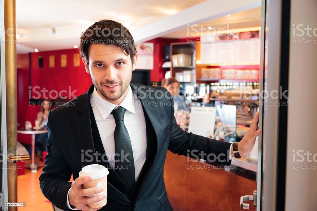 stressed businessman getting his early-morning coffee royalty-free stock photo