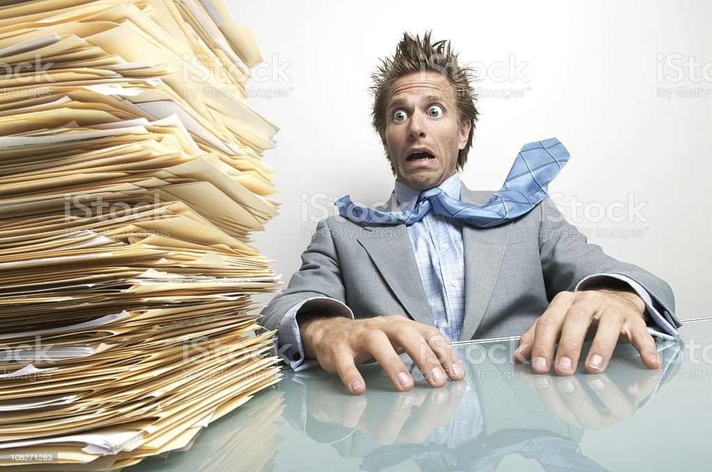 Attack of the File Pile stock photo