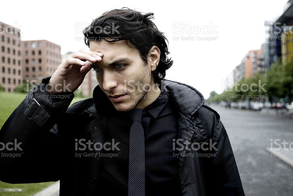 Stressed Businessman With Worries on his Mind royalty-free stock photo