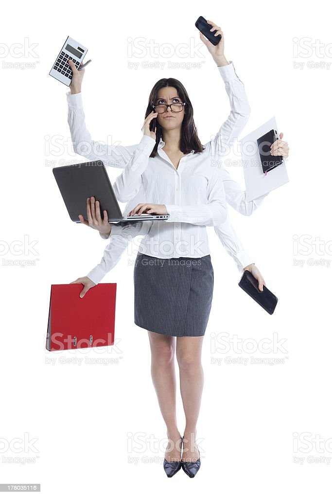 stressed businesswoman at work stock photo