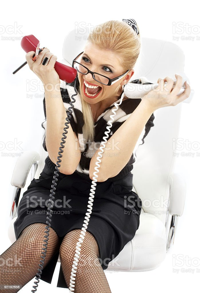 stressed businesswoman in white chair royalty-free stock photo