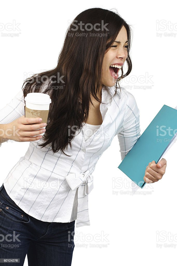 Stressed businesswoman screaming royalty-free stock photo