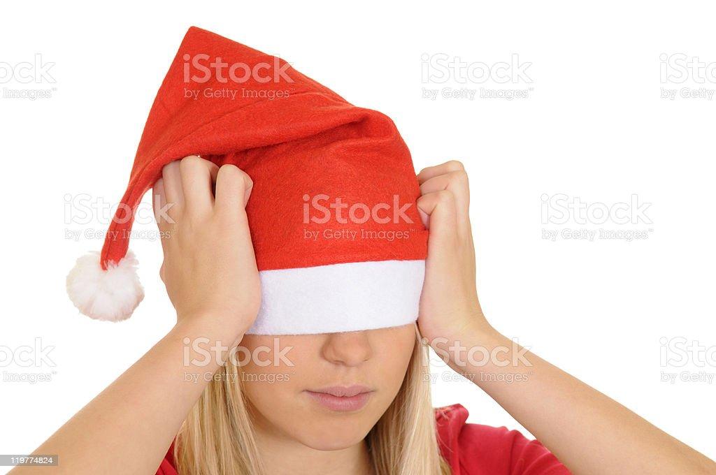 stressed christmas girl stock photo