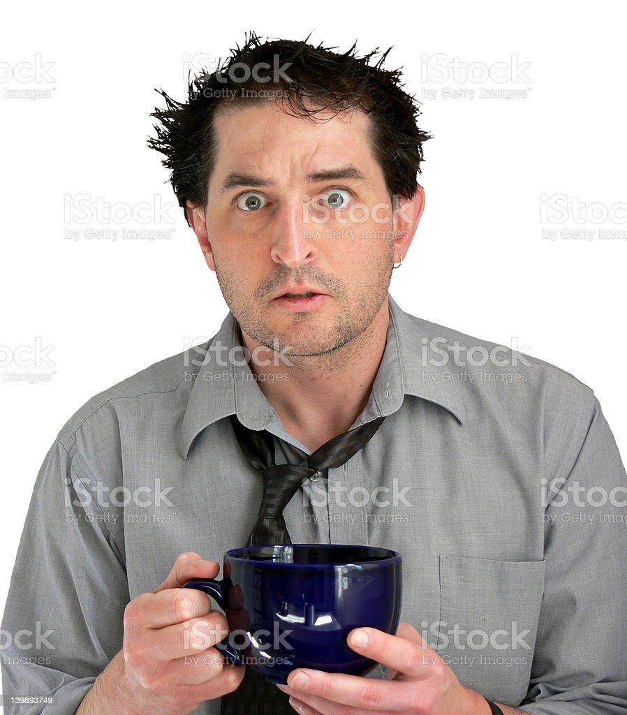 Stressed Coffee Guy stock photo