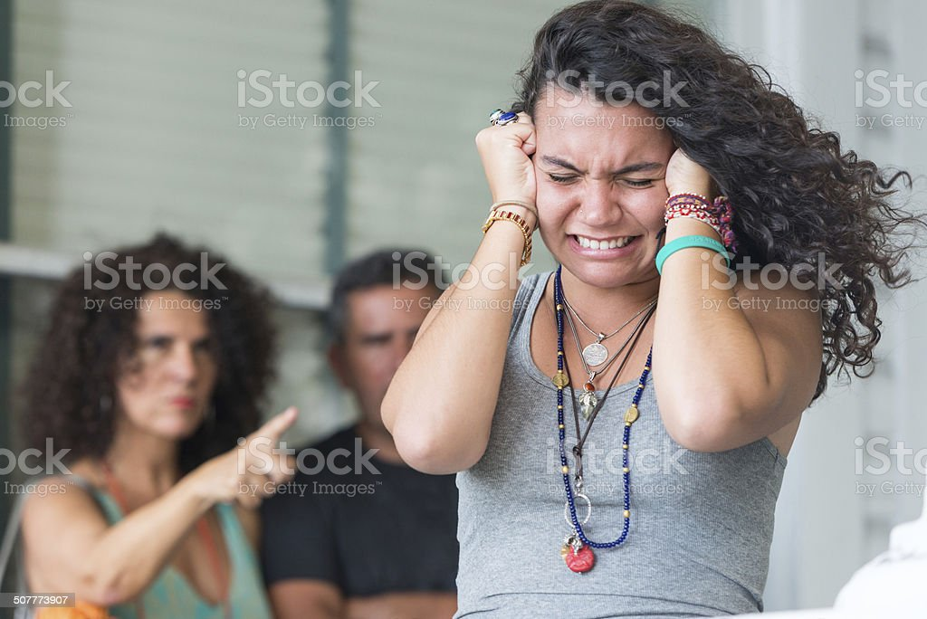Stressed Daughter stock photo