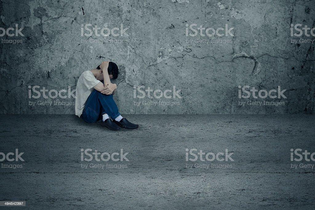 Stressed drug user stock photo