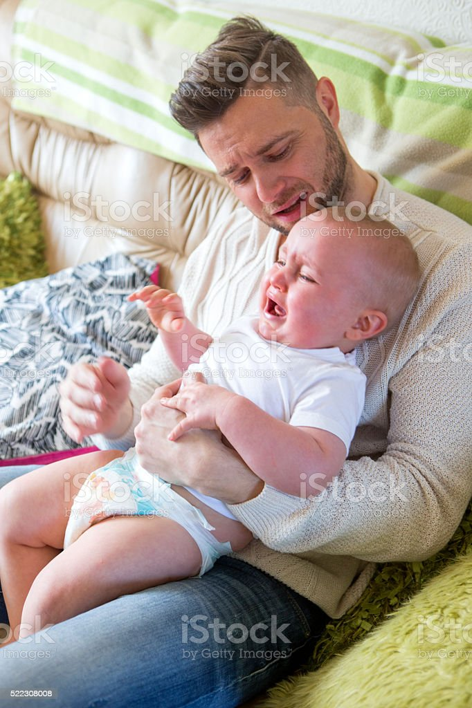 Stressed Father stock photo