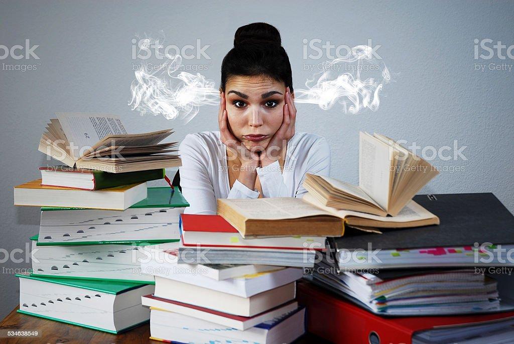 Stressed female student stock photo