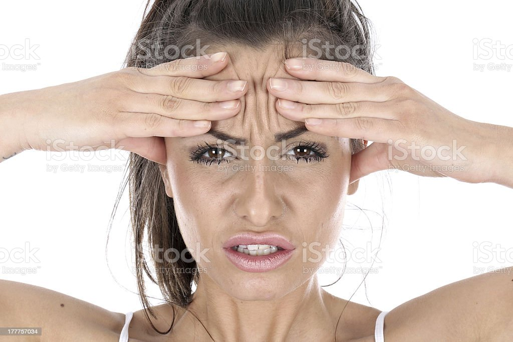 Stressed Frustrated Angry Woman with Headache stock photo