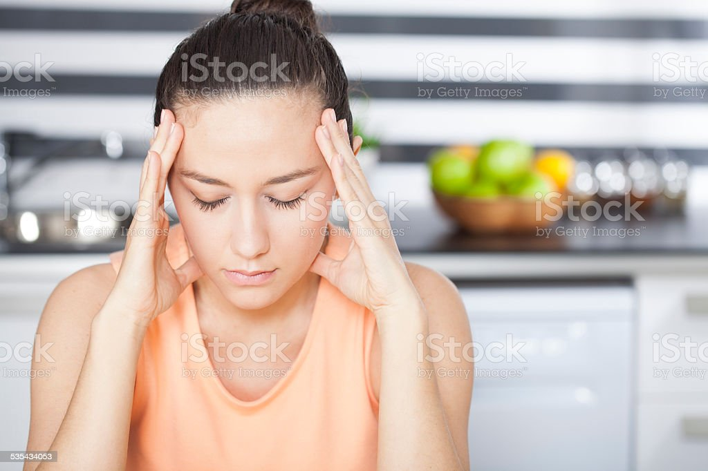 Stressed housewife stock photo