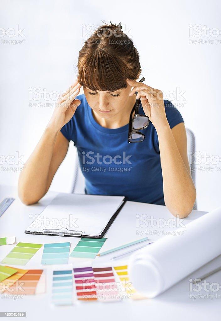 stressed interior designer royalty-free stock photo