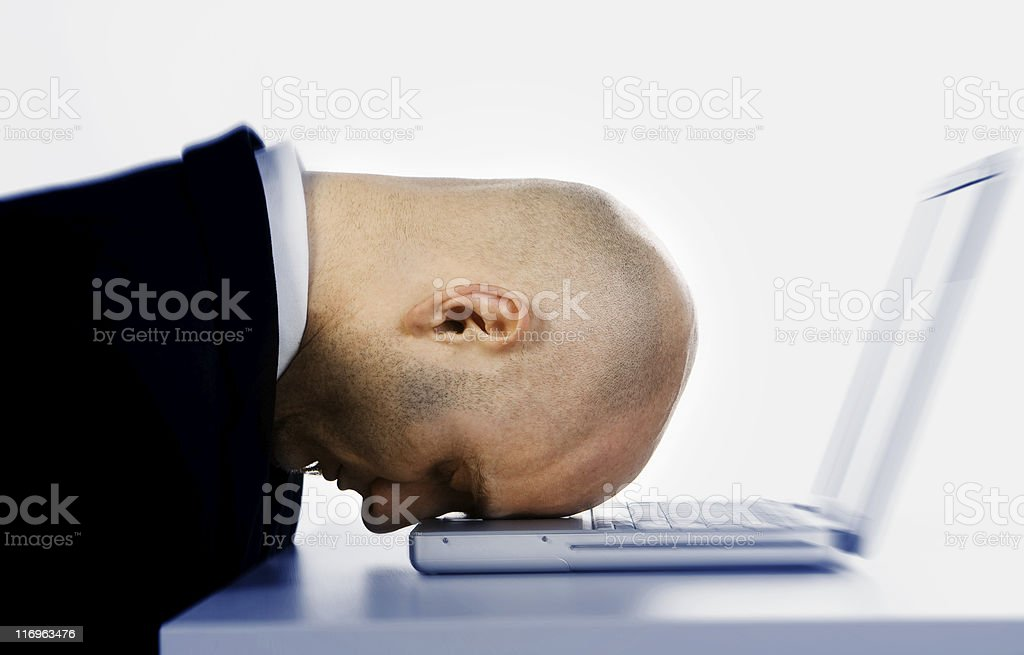 Stressed man and laptop royalty-free stock photo