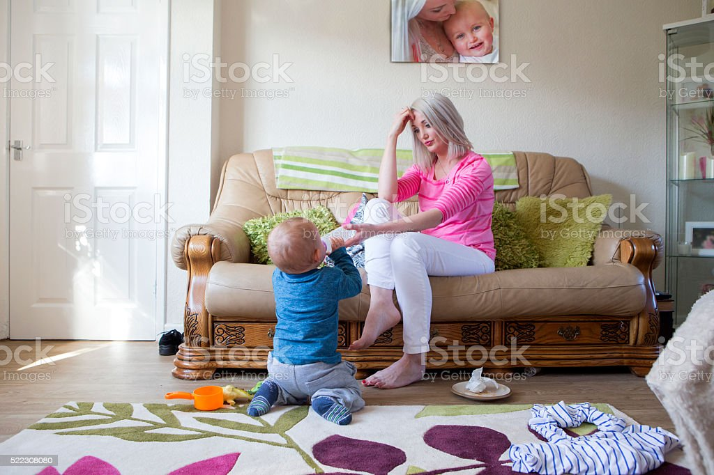 Stressed Mother stock photo
